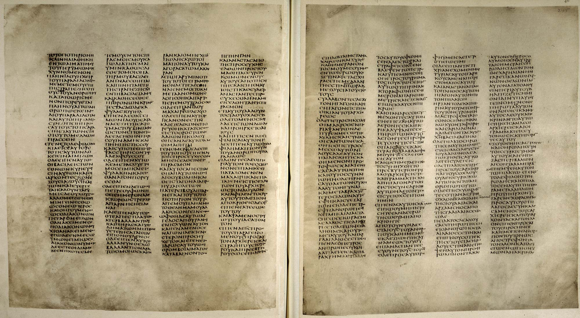 Codex Sinaiticus f.244v-245. Open at St Luke's Gospel, chapter 22, 20-71 chapter 23, 1-13