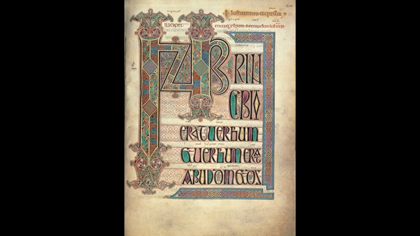 decorated A highly decorated incipit page, showing the first words of the Gospel of St John, from the Lindisfarne Gospels. f.211