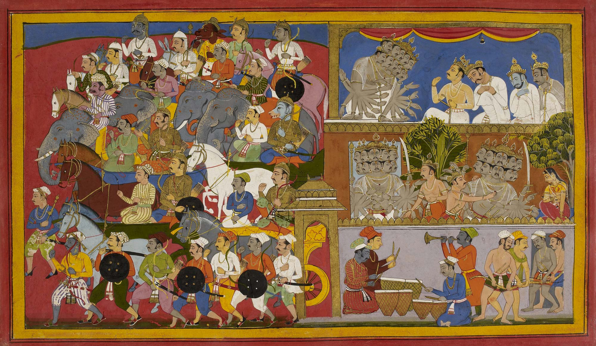 Ravana sends out more troops to battle Lord Rama, f.128