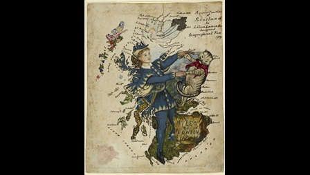 Caricature map of Scotland
