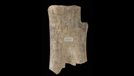 Oracle bones were used for divination over three thousand years ago in ancient China and they are the oldest items held in the British Library. This is the recto image.