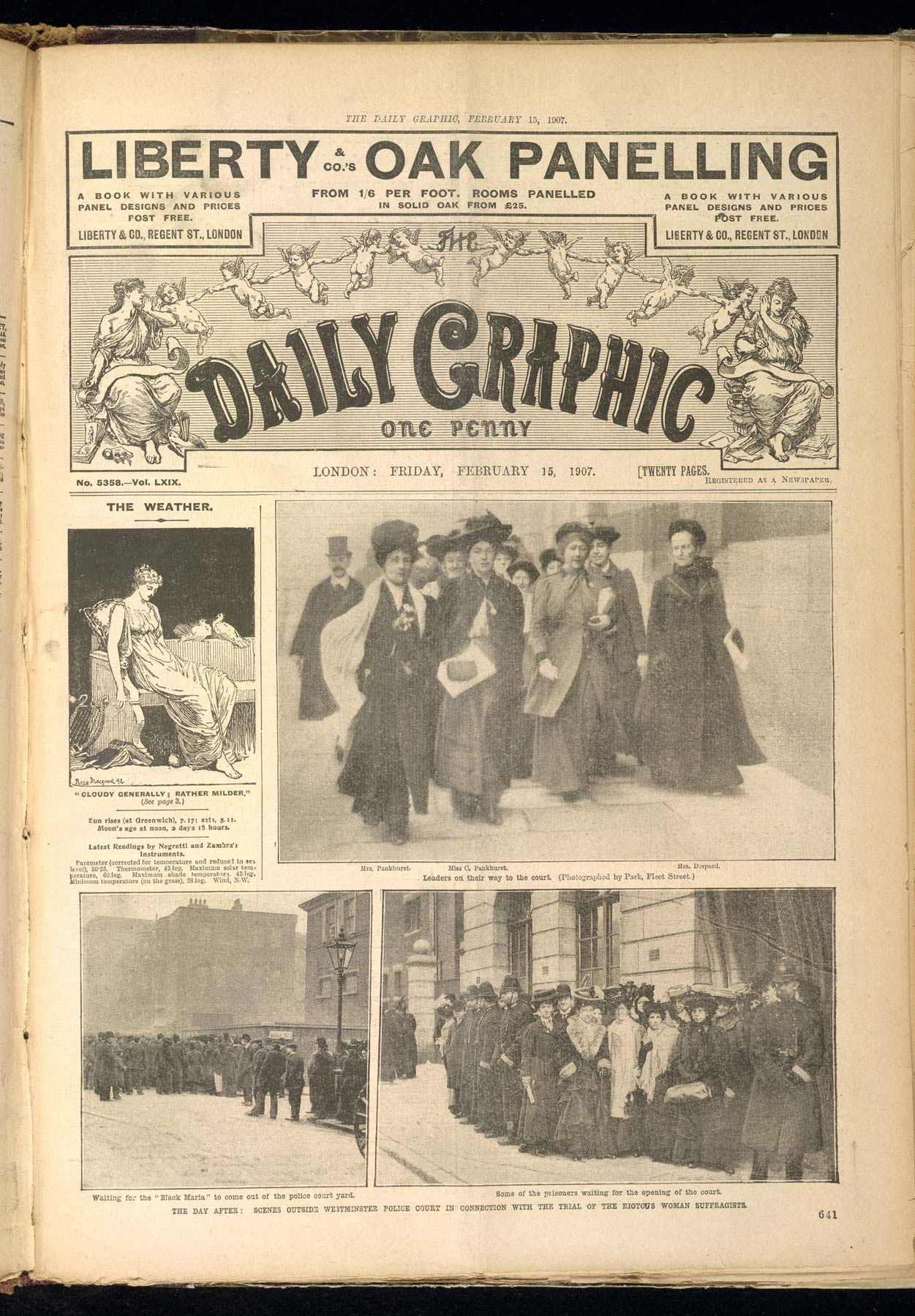 The Daily Graphic showing Christabel Pankhurst on her way to court