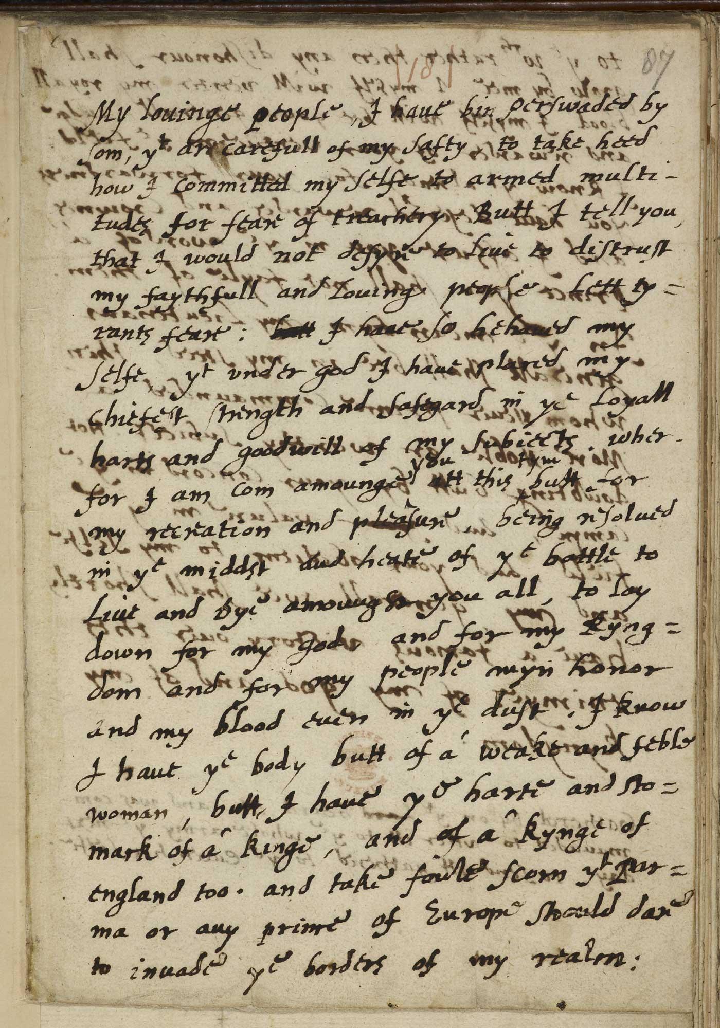 Elizabeth I's Tilbury Speech,f.87