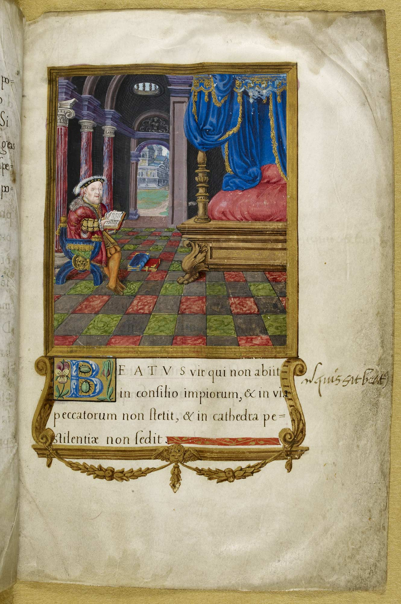 Henry Vlll Psalter. The illustration shows King Henry Vlll siting in his ante-chamber reading his Psalms, f.3
