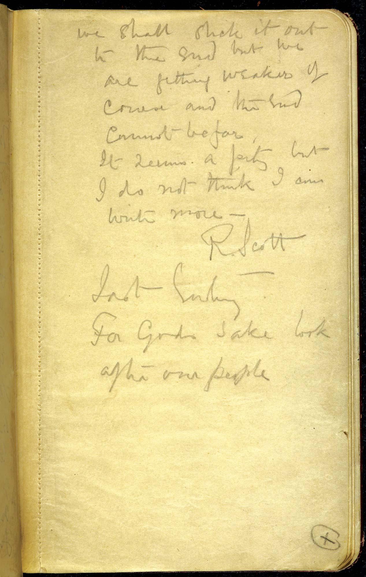 The last entry in Captain Scott's Diary f.39