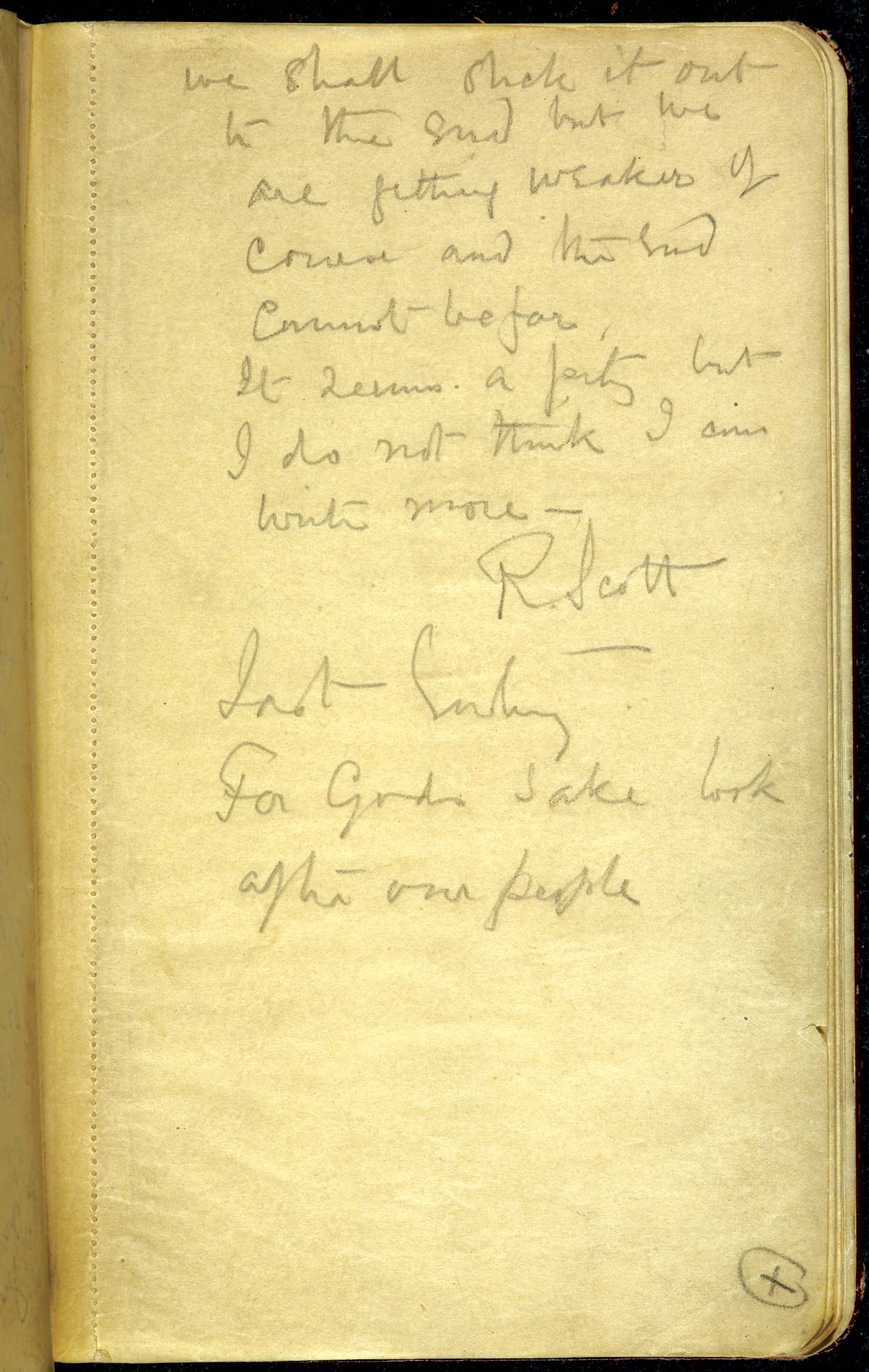 The last entry in Captain Scott's Diary f.39