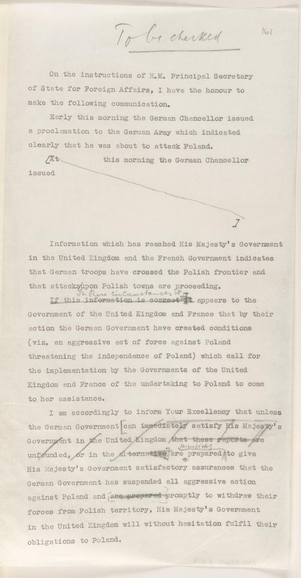 Draft of Britain's World War Two Ultimatum Letter to Germany f.161