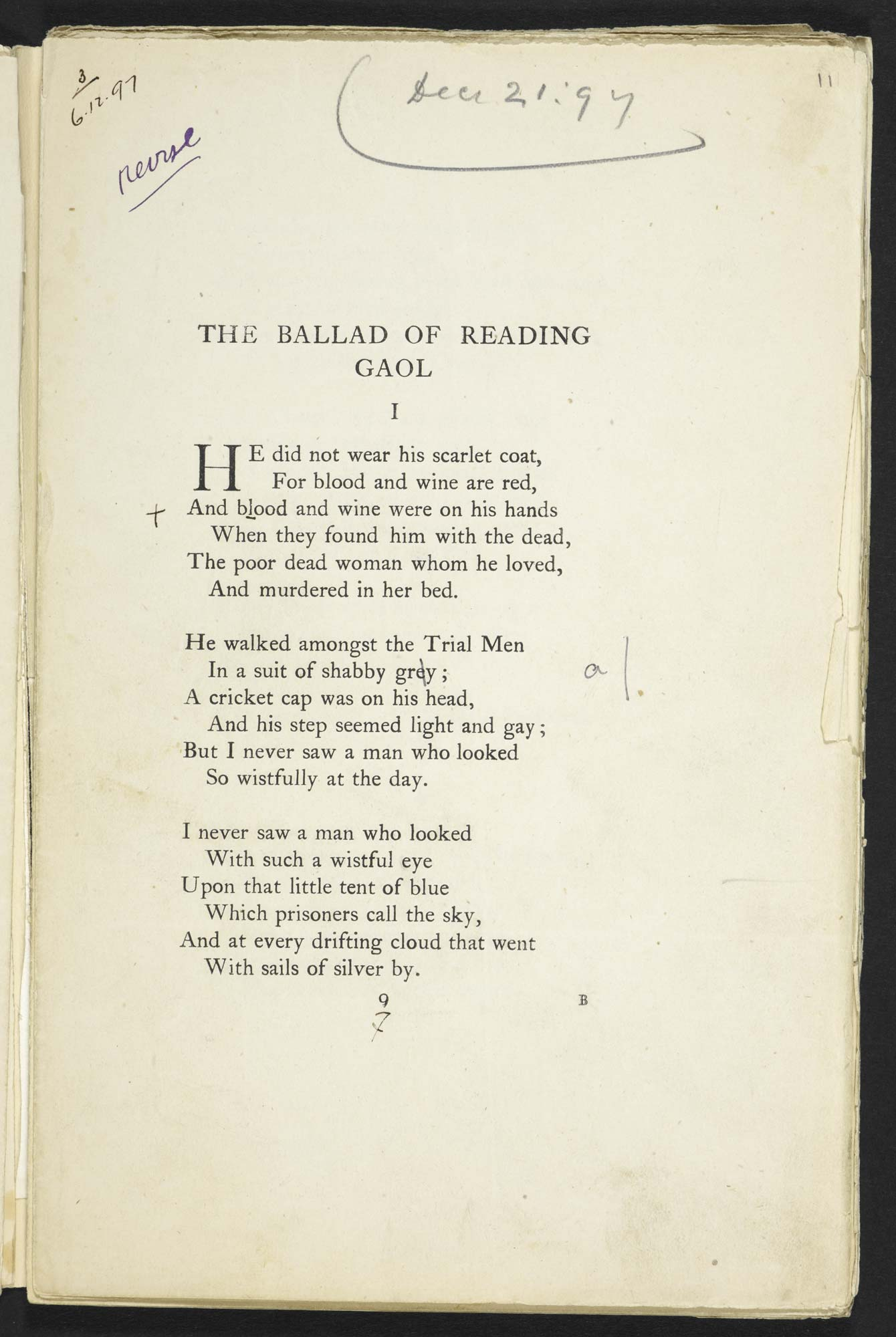 The Ballad Of Reading Gaol By Oscar Wilde The British Library