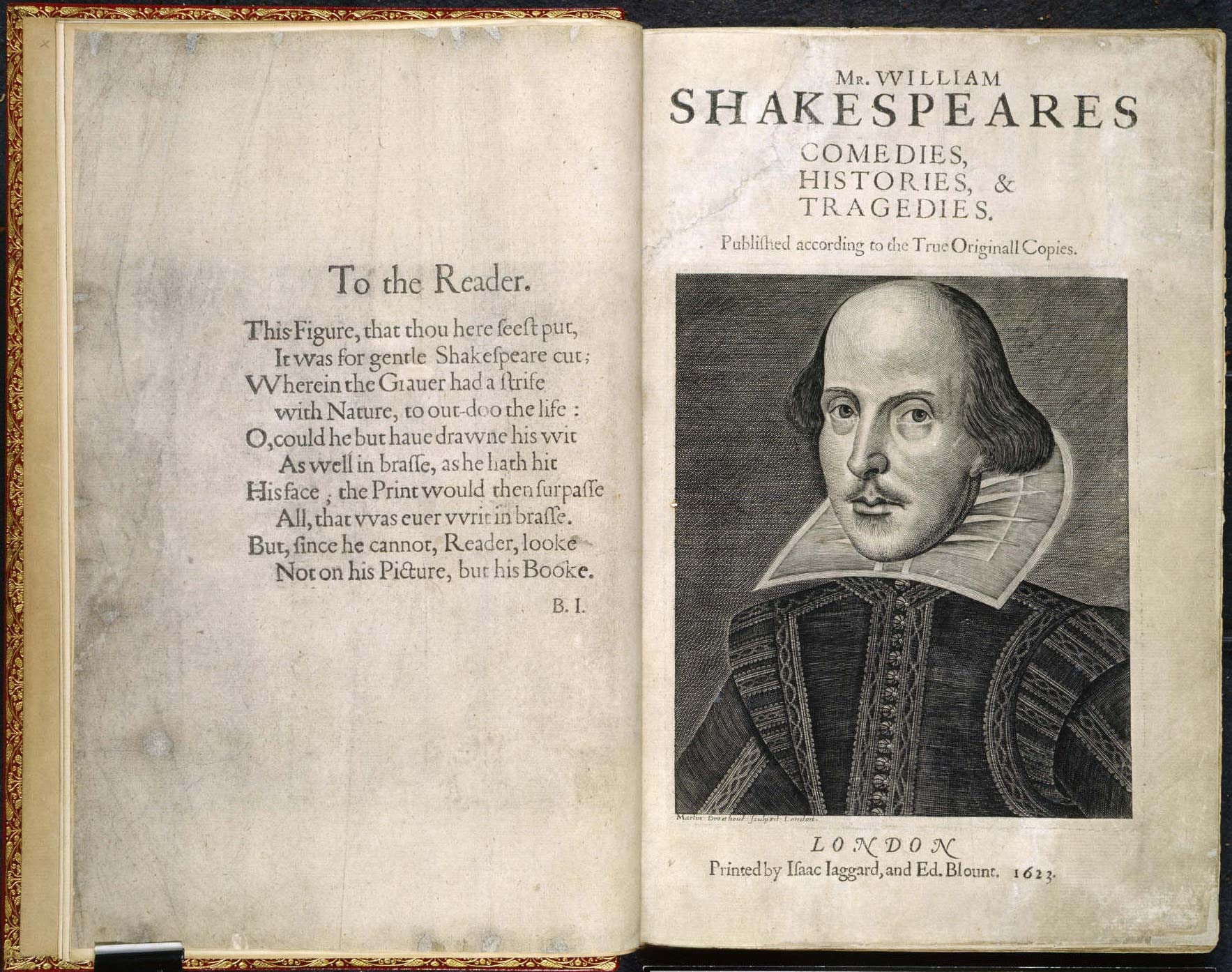 Shakespeare's First Folio - title page and introduction by Ben Johnson