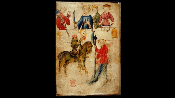 Illustrations of Gawain, King Arthur and members of the court, and the green knight holding a decapitated head, from the manuscript of Sir Gawain and the Green Knight.