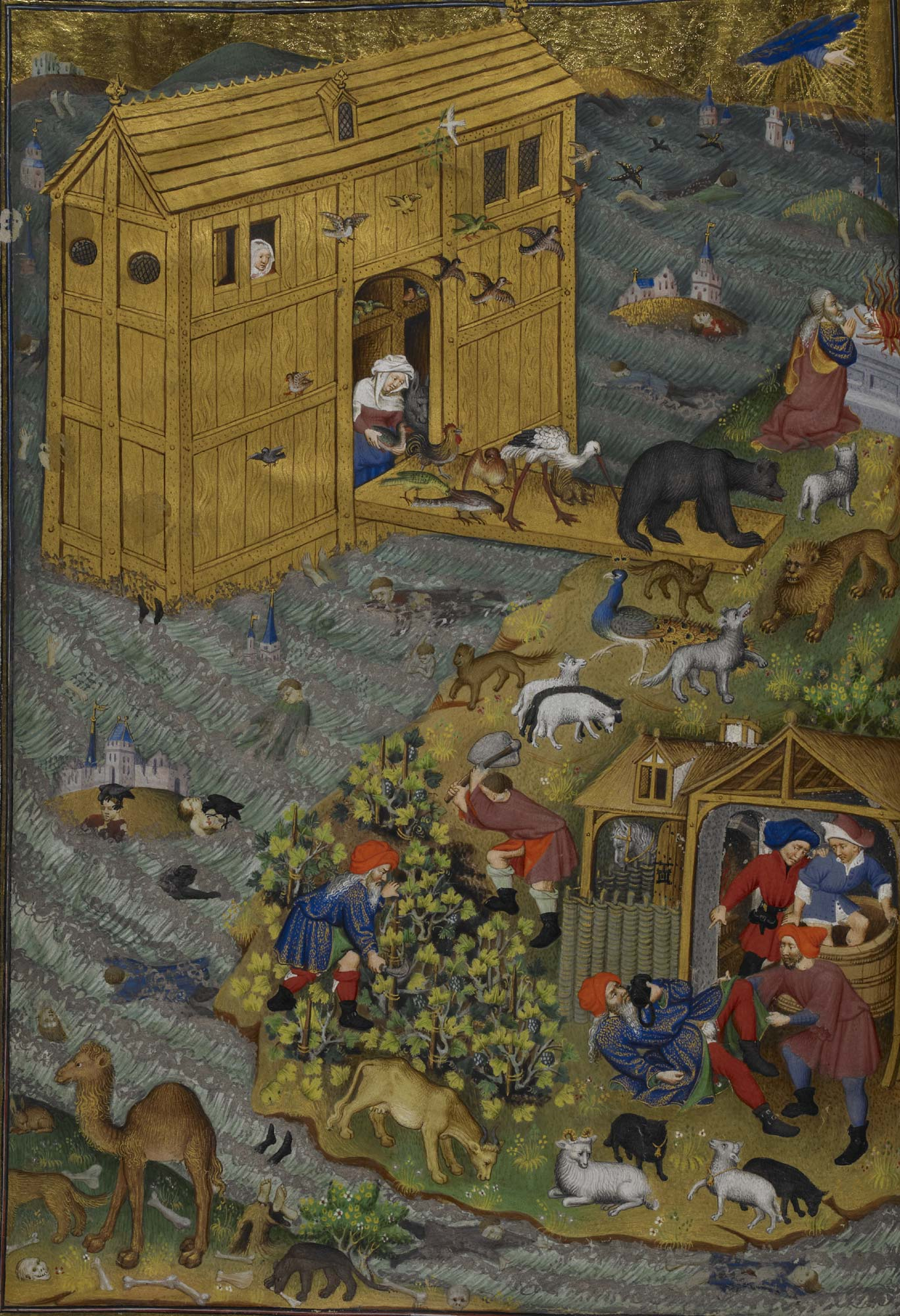 Bedford Hours f.16 Noah's Ark and the flood