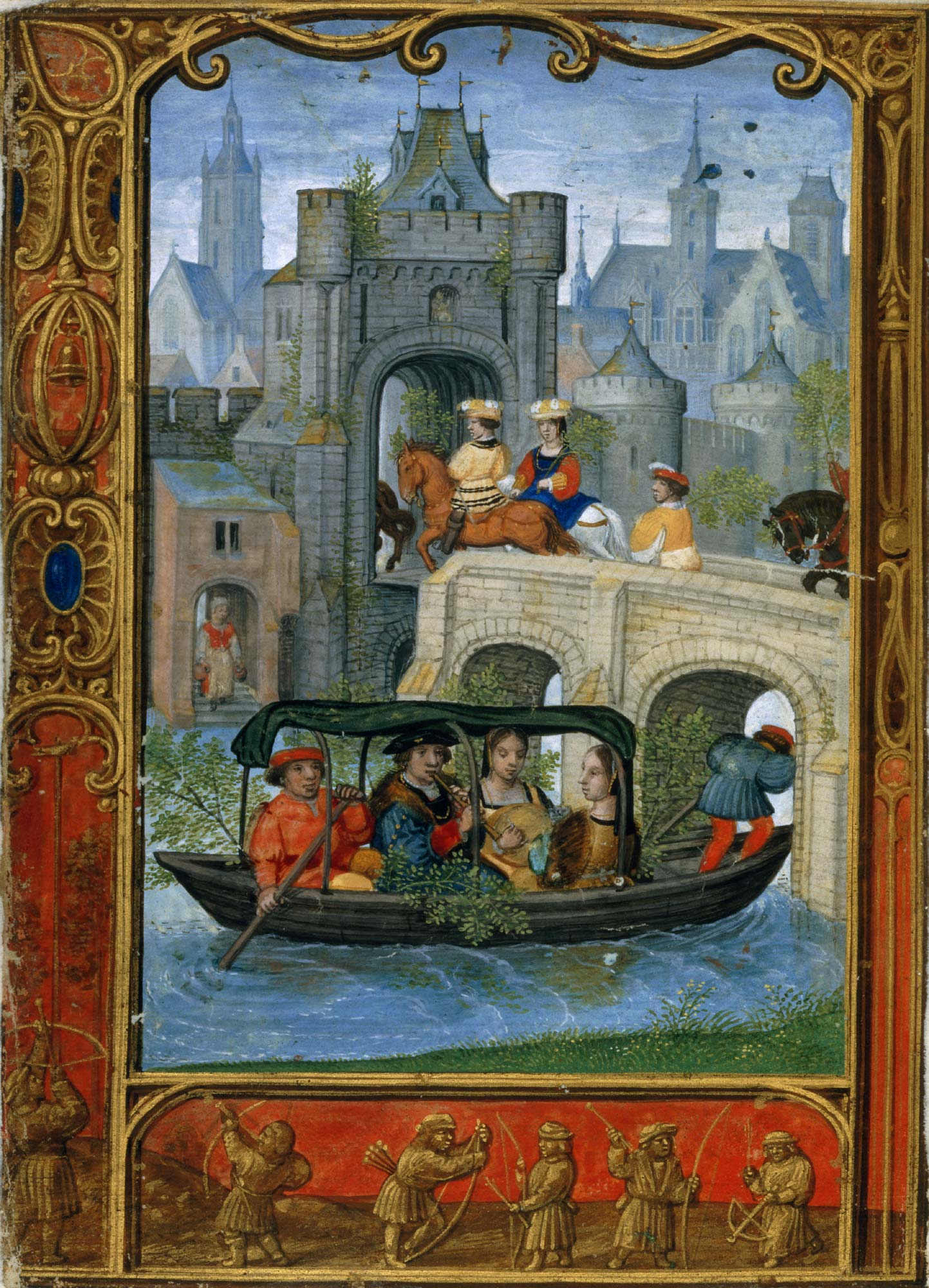 The golf Book f.22v showing a boating party