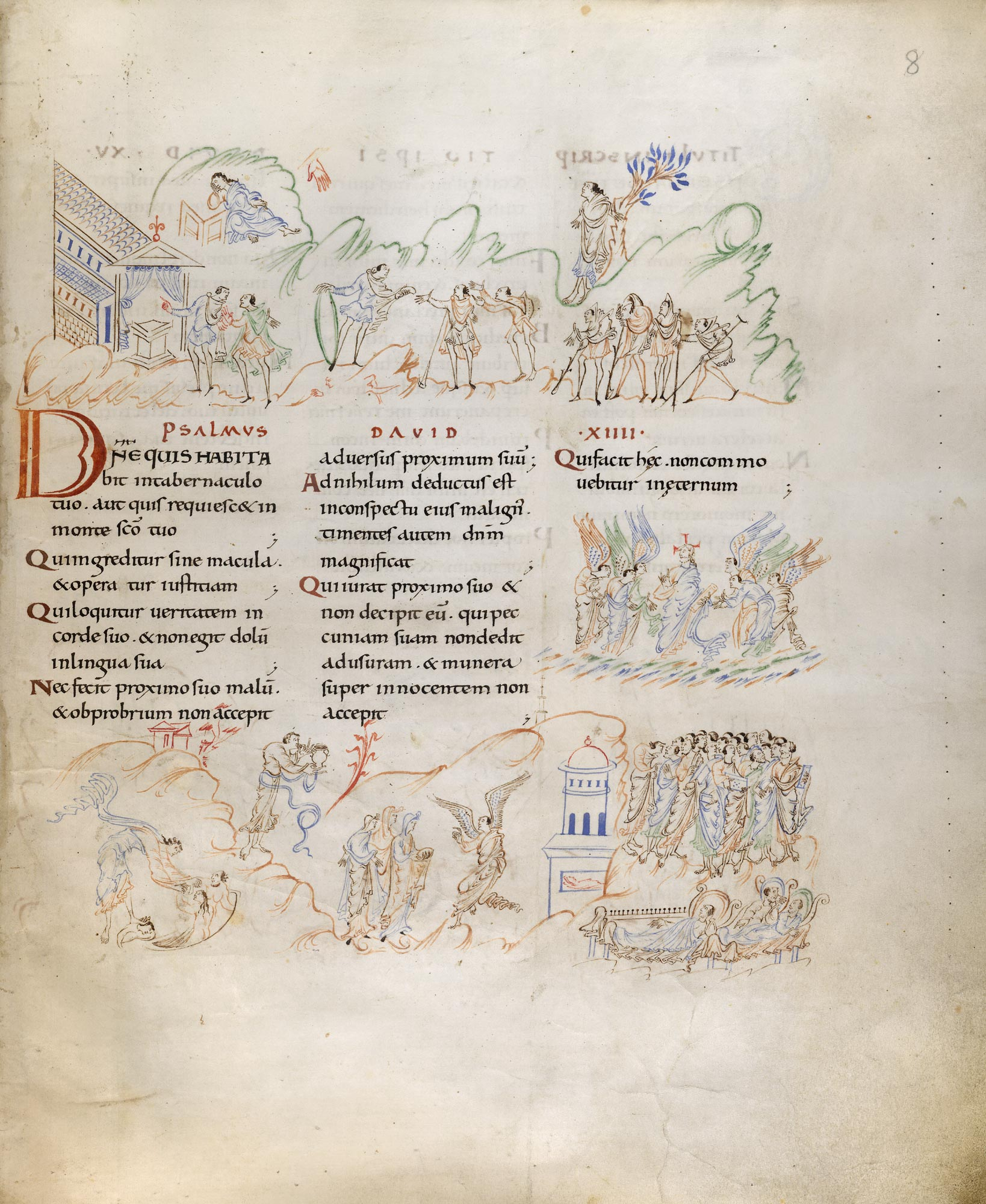 Harley Psalter f.4 illustrating Psalm 8