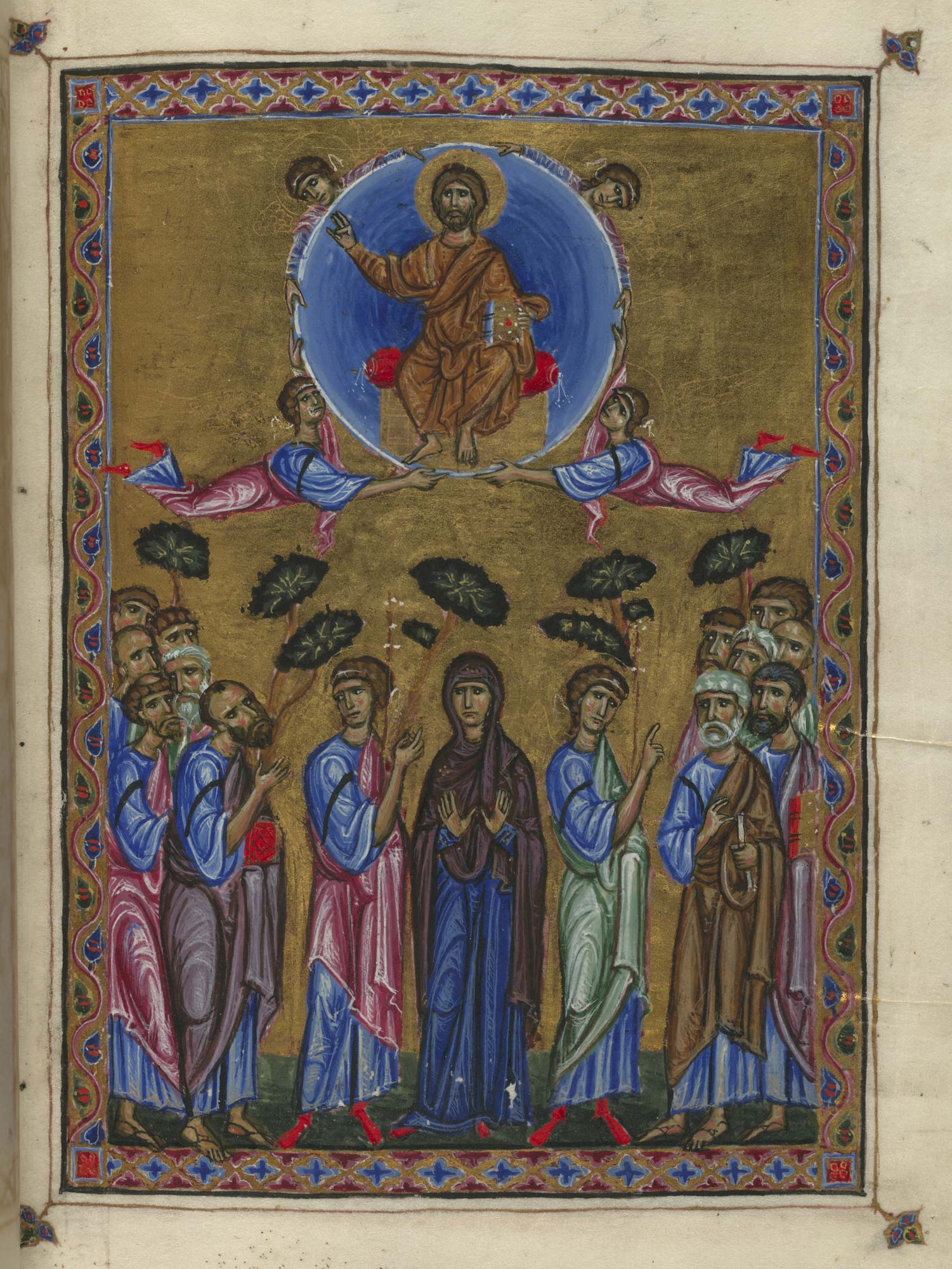 Melisende Psalter f.11 showing the ascention of Christ to heaven after his resurrection