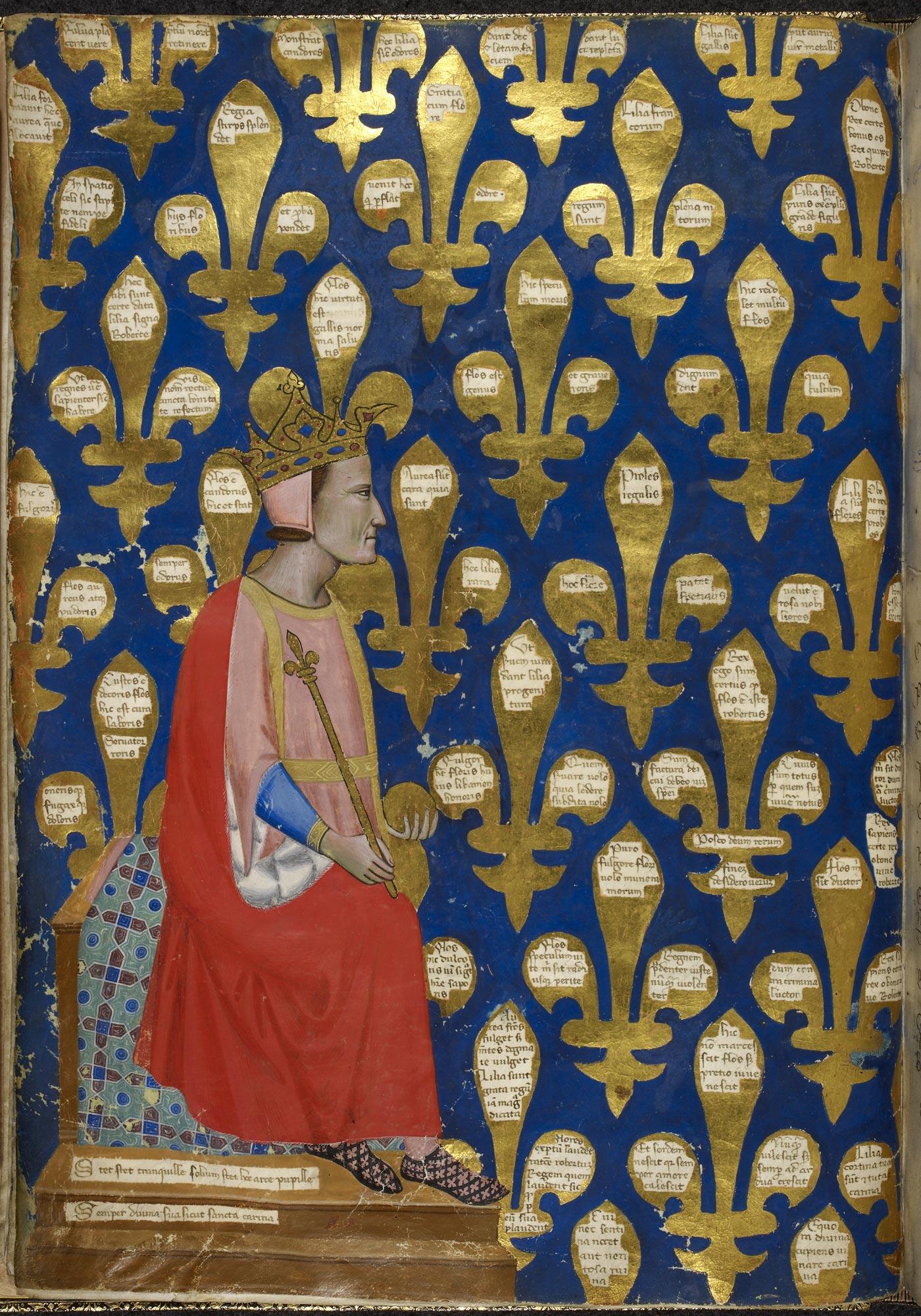 Regina Carmina showing King Robert of Naples, f.10v