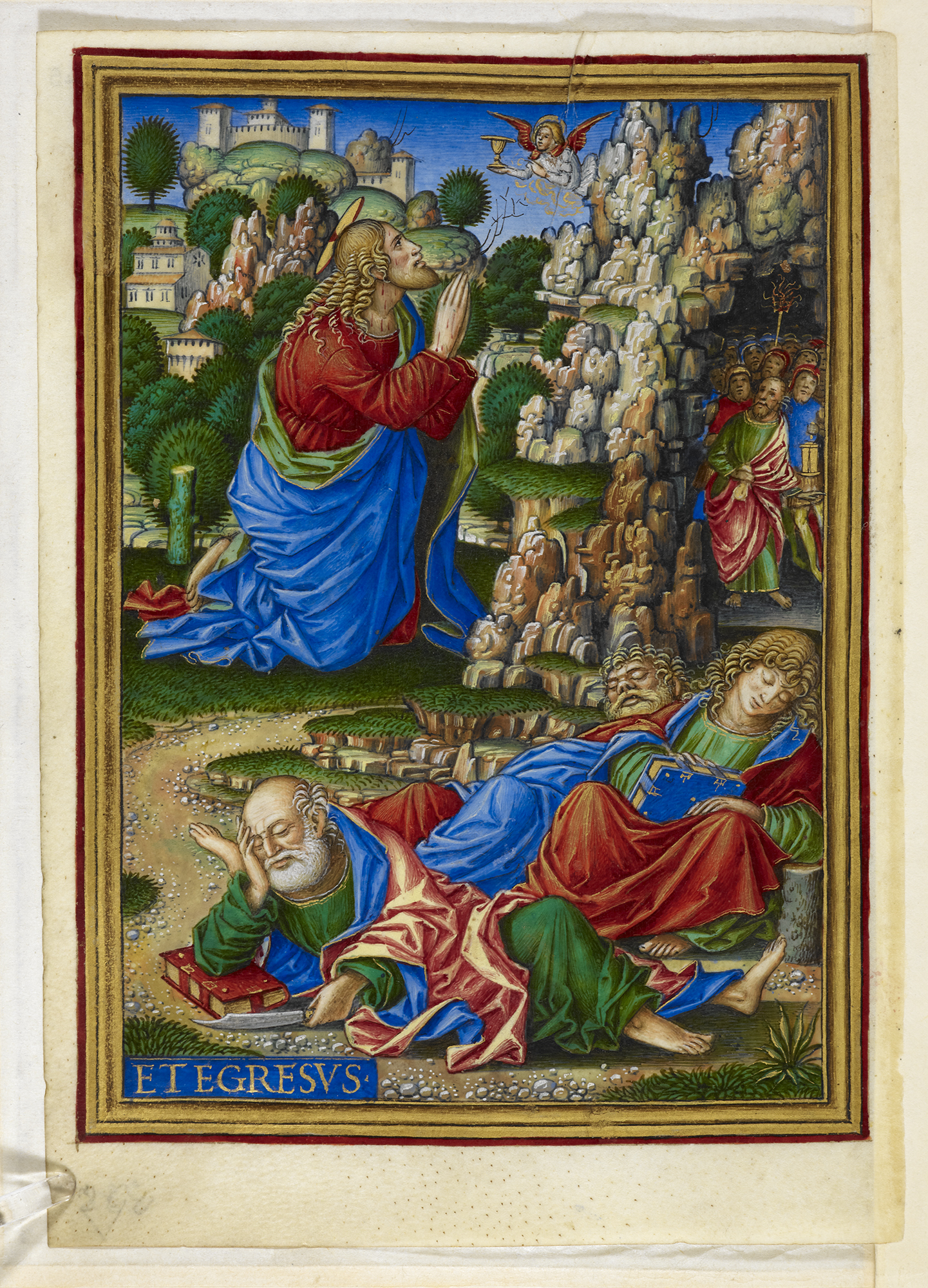 A painting in the Sforza Hours showing Jesus praying in the Garden of Gethsemane. Giovan Pietro Birago. Milan, c. 1490