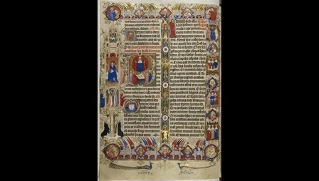 An illuminated manuscript page featuring illustrations of saints and text for celebrating Mass