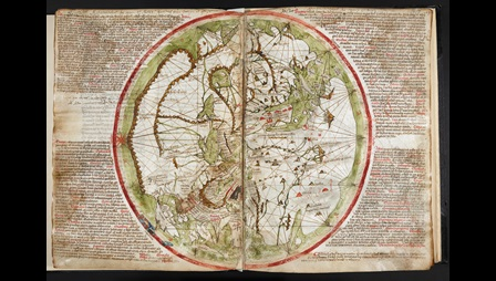Large manuscript with a drawing of the world surrounded by text