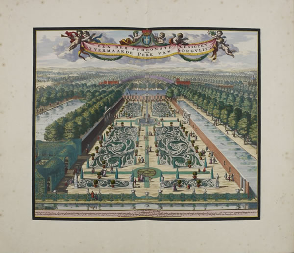Jan vande Avelen, 'General view of the beautiful park of Zorgvliet' (Amsterdam: N. Visscher, ca. 1695)