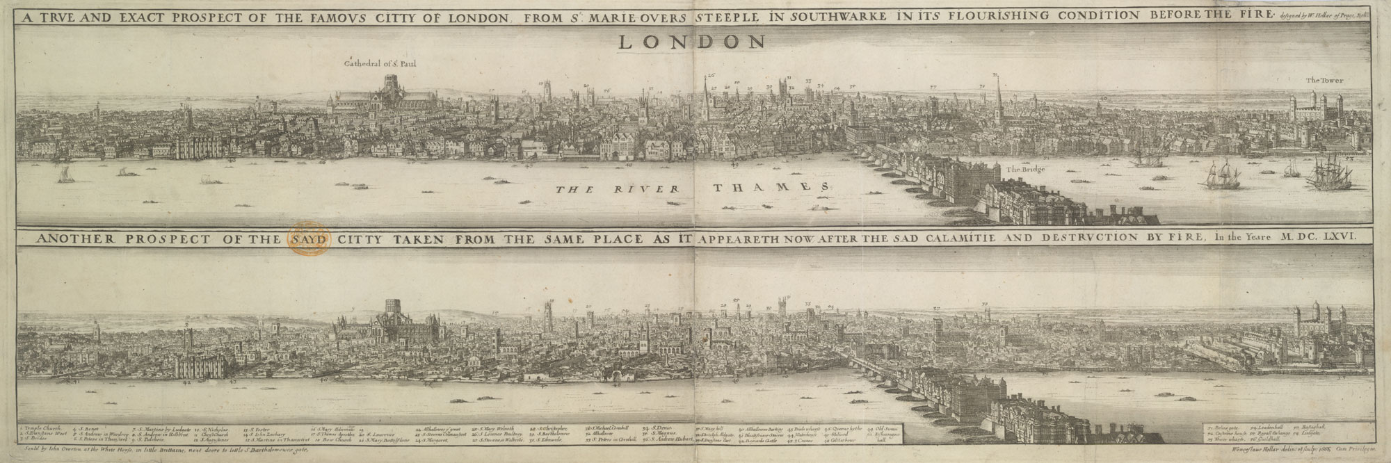 Hollar's map of London before and after the Great Fire of London