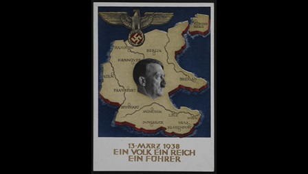 Hitler's portrait superimposed on the map