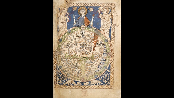 Psalter World Map, full-page illustration showing Christ holding the orb of the world, flanked by two angels. Jerusalem is marked in the centre, with Rome appearing slightly below it, and the rivers Ganges and the Danube drawn in blue