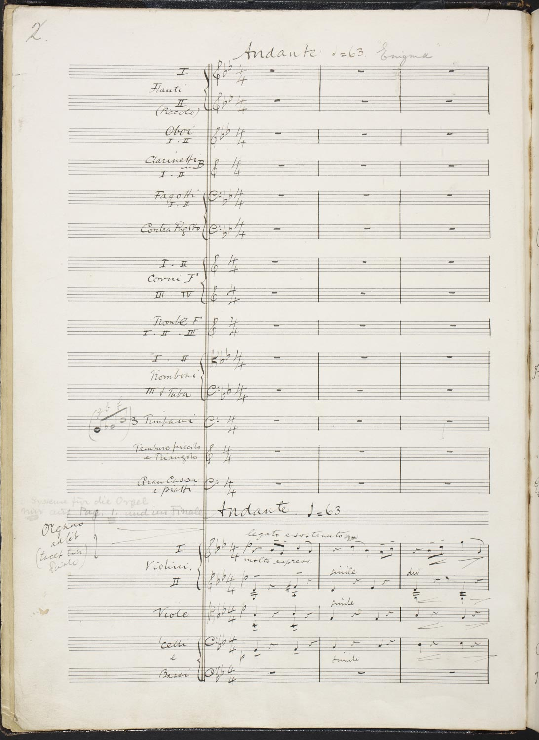 Manuscript for Edward Elgar's Enigma Variations on an Original Theme, f.1v