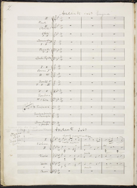Manuscript for Edward Elgar's Enigma Variations on an Original Theme, f.1v