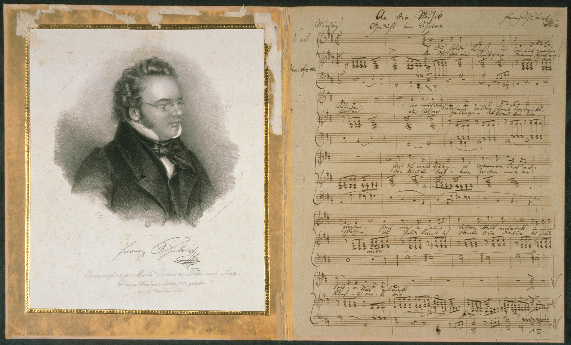 Franz Schubert, manuscript of An die Musik and portrait. Zweig MS 81, A, B.