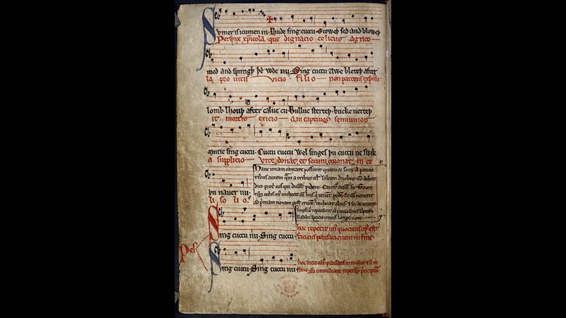 Lyrics and musical notation from a manuscript of Sumer Is Icumen In, folio 11v