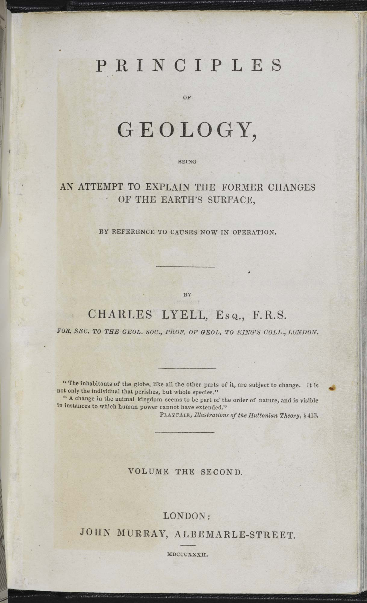 Charles Lyell's Principles of Geology, f.1