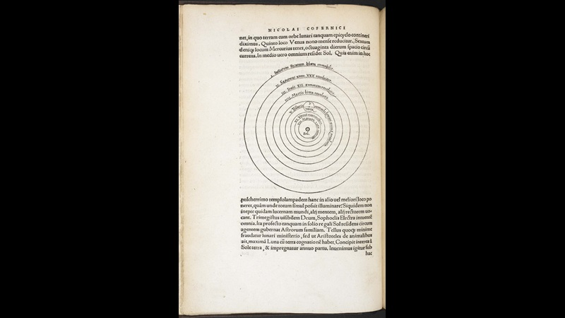 Printed page containing a diagram of Copernicus' celestial spheres and text in Latin