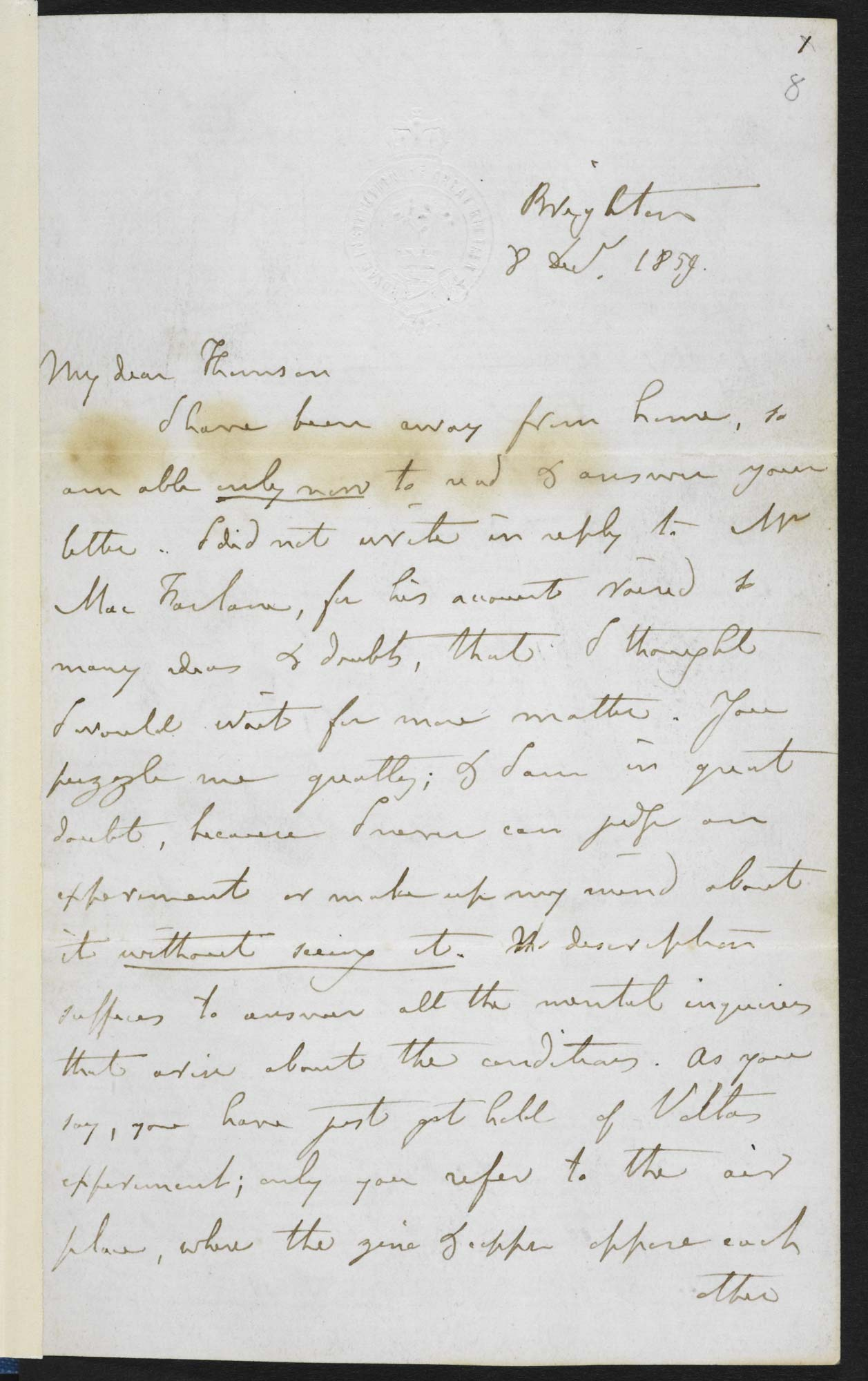 Michael Faraday's letter to William Thomson, f.8