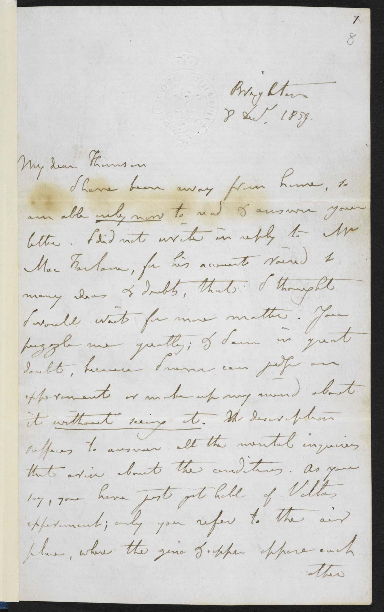 Michael Faraday's letter to William Thomson, f.8