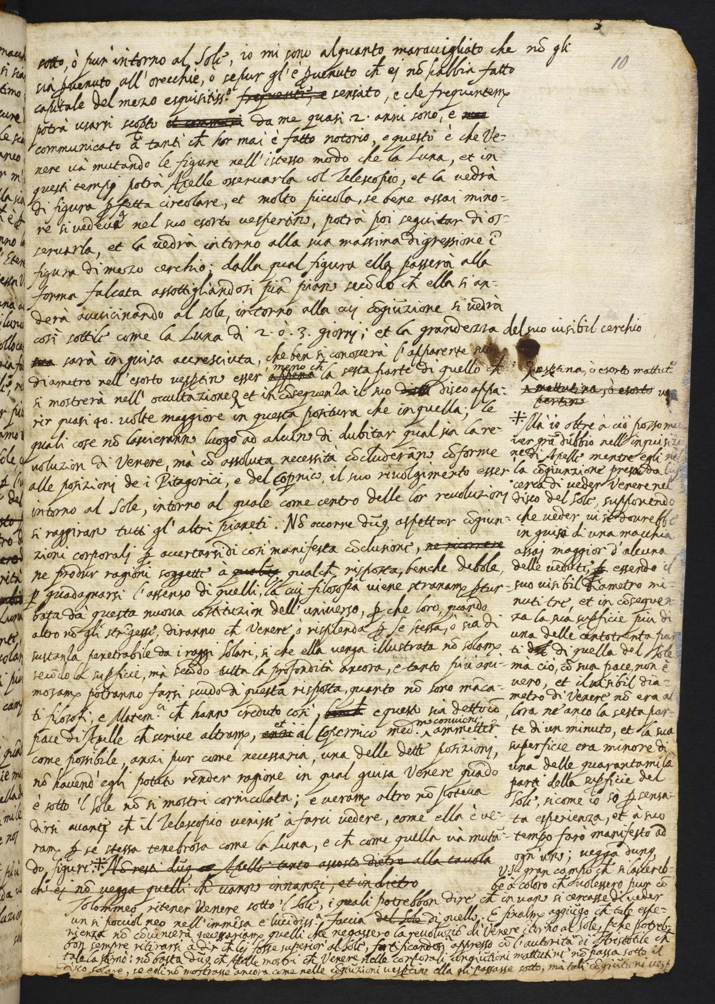 Galileo Galilei's Letters of the Sunspots f.10