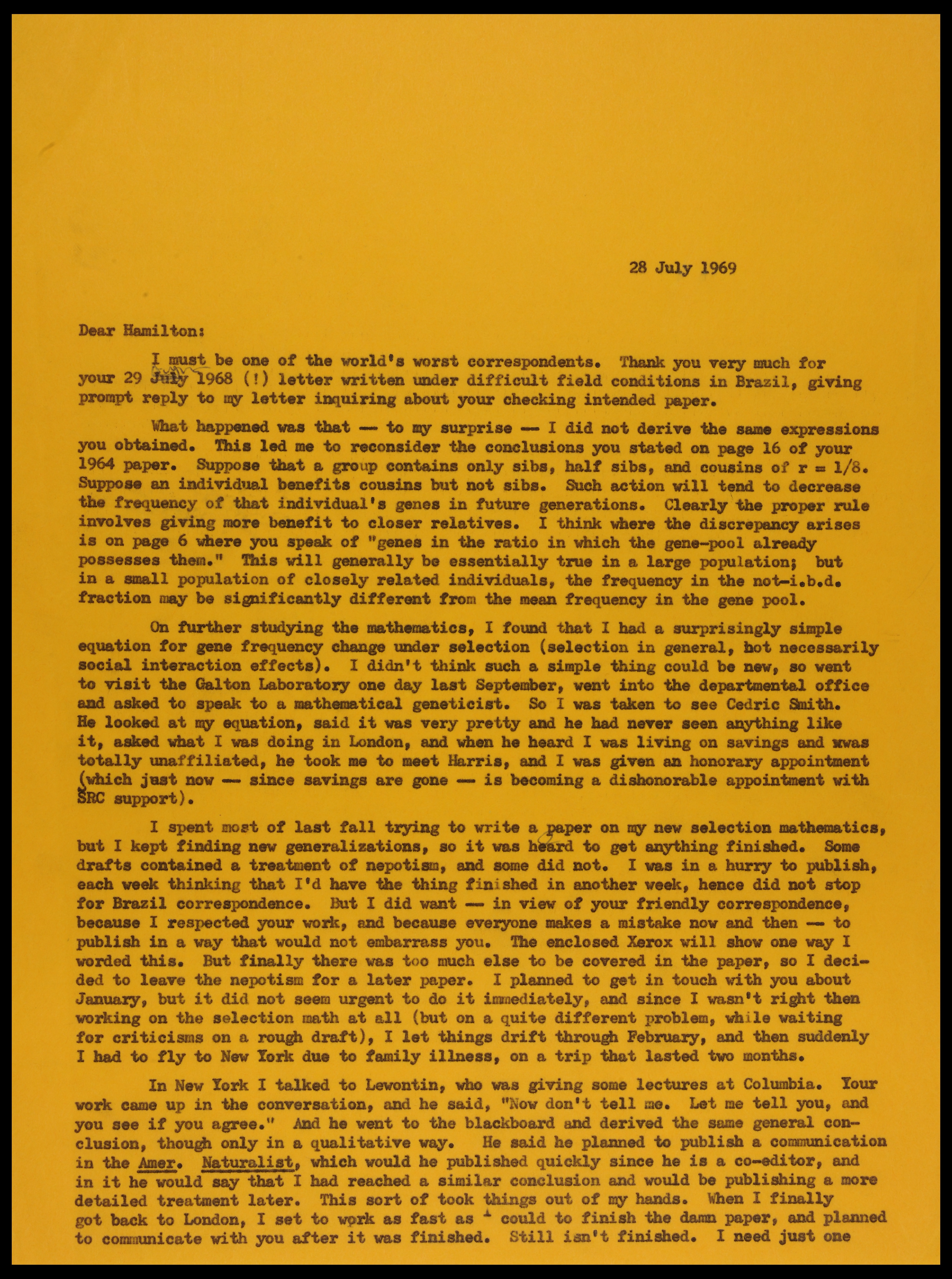 George Price's letter to William Hamilton page one