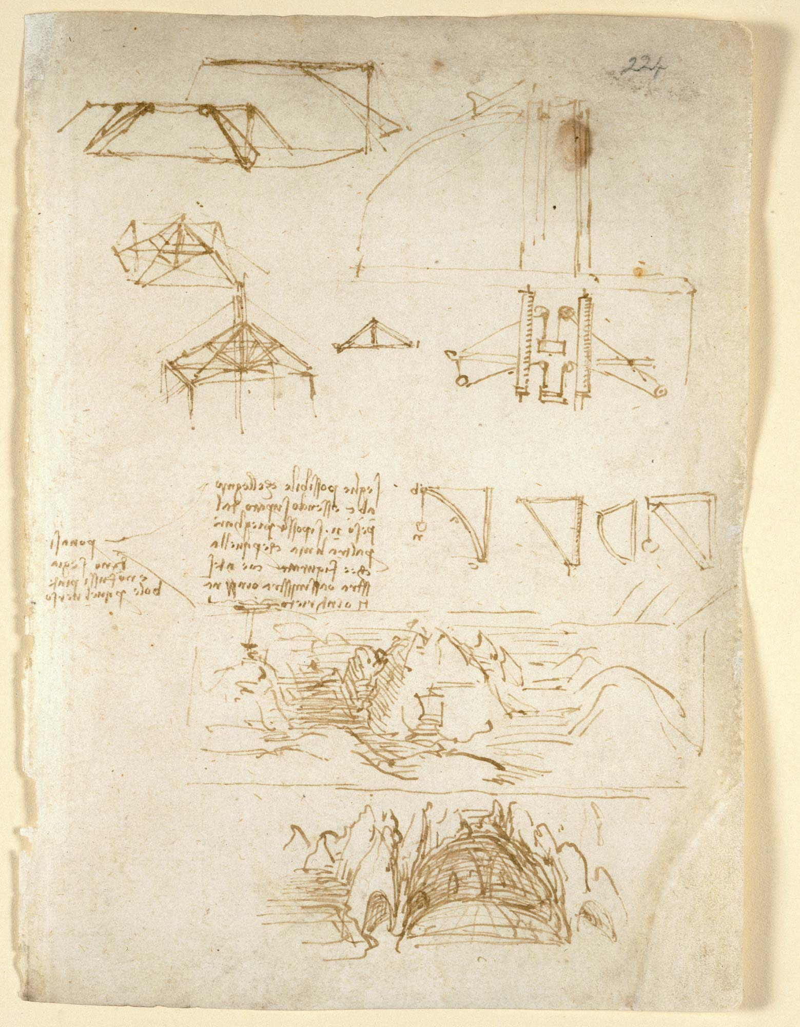 Page from Leonardo da Vinci's notebook, f.224