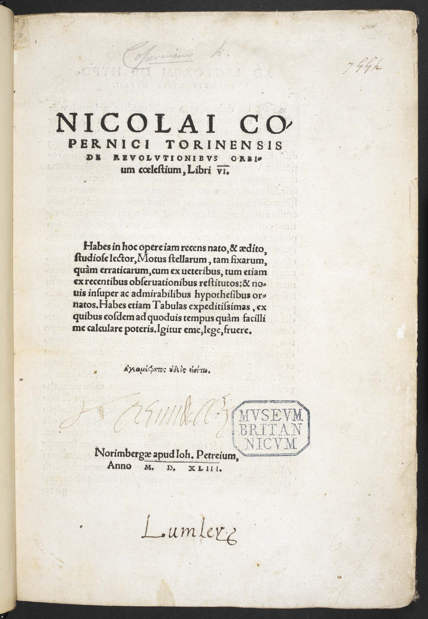 Title page of Copernicus's Celestial Spheres