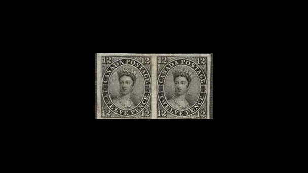 Canada: 1851 12d black, an unused horizontal pair from the foot of the sheet