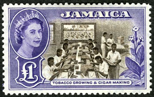 Jamaica: 1956-58 £1 chocolate and violet, unissued