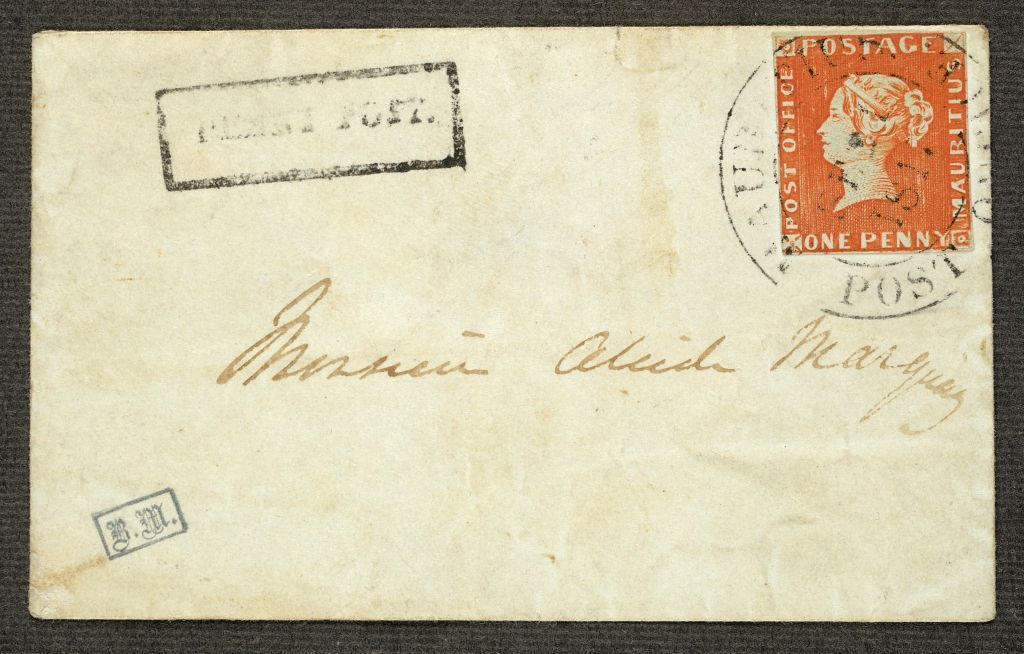 Mauritius 1847 Post Office 1d. orange-red, used, on cover