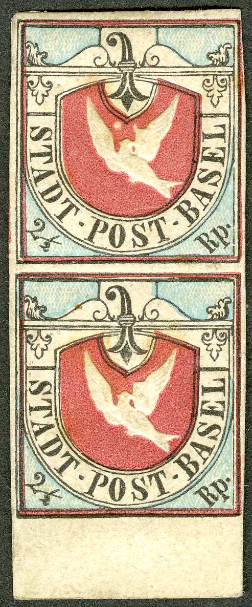 Switzerland Basel 1847 2½ rappen 'Basel Dove' carmine, black and blue, an unused pair