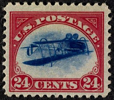 United States of America: 1918 Airmail 24 cents blue and carmine, error 'inverted Jenny', unused