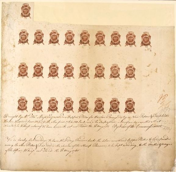 USA: Revenue 1765 Newspaper and Pamphlet One Penny. A proof sheet of 26, showing the registration certificate.