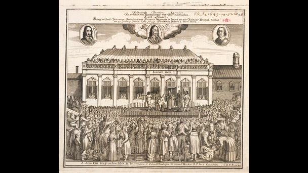 Black and white print showing the execution of Charles I, entitled [in German] 'Abominable unheard of execution'. It depicts Whitehall, the executioners block and masses of crowds filling the streets to witness the event.