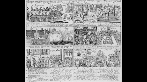 Series of scenes of the first English Civil War, progressing from a meeting of conspirators to the execution of the king