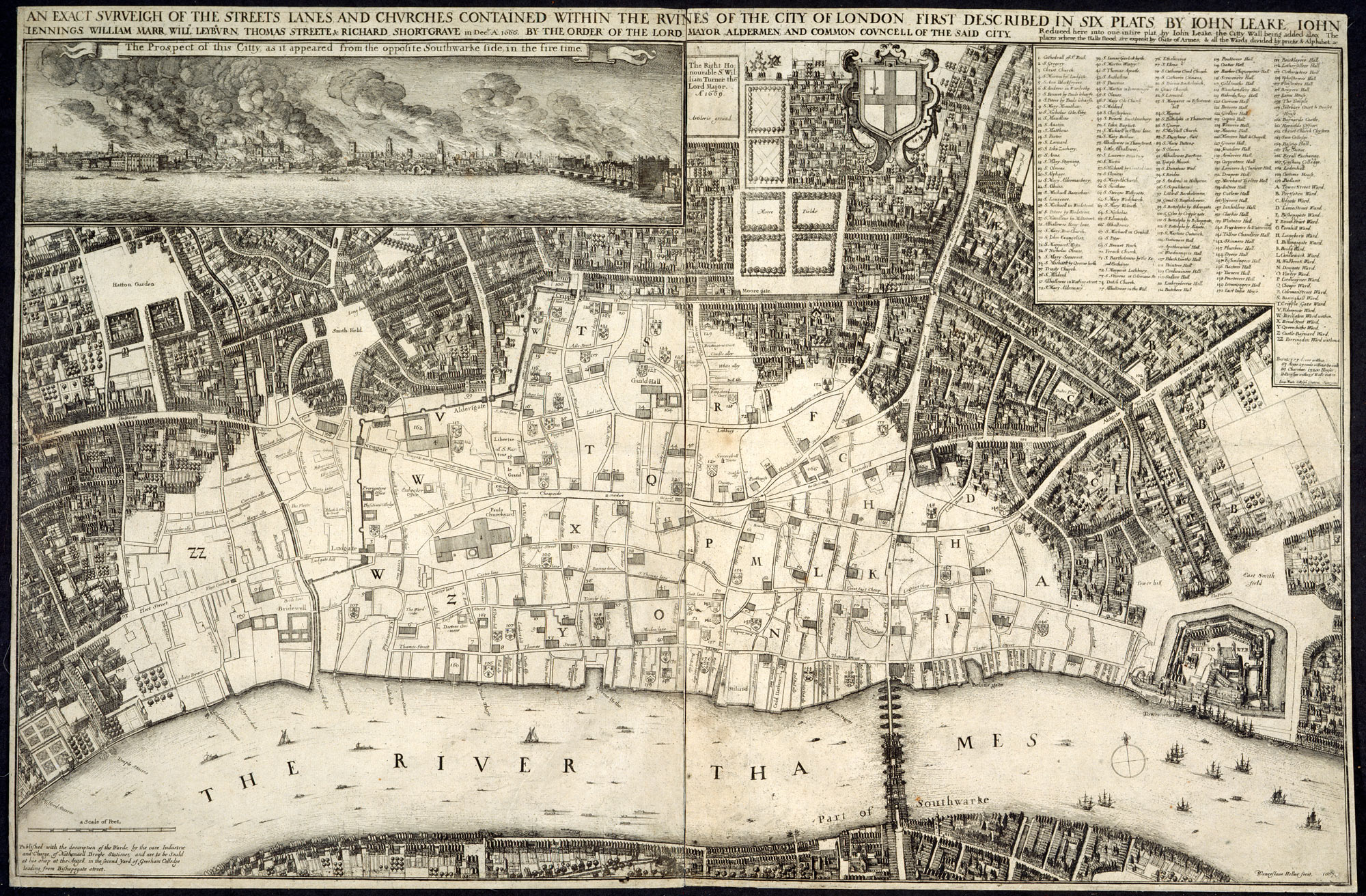 London 1600 Map.Survey Of The Ruins Caused By The Great Fire Of London The British