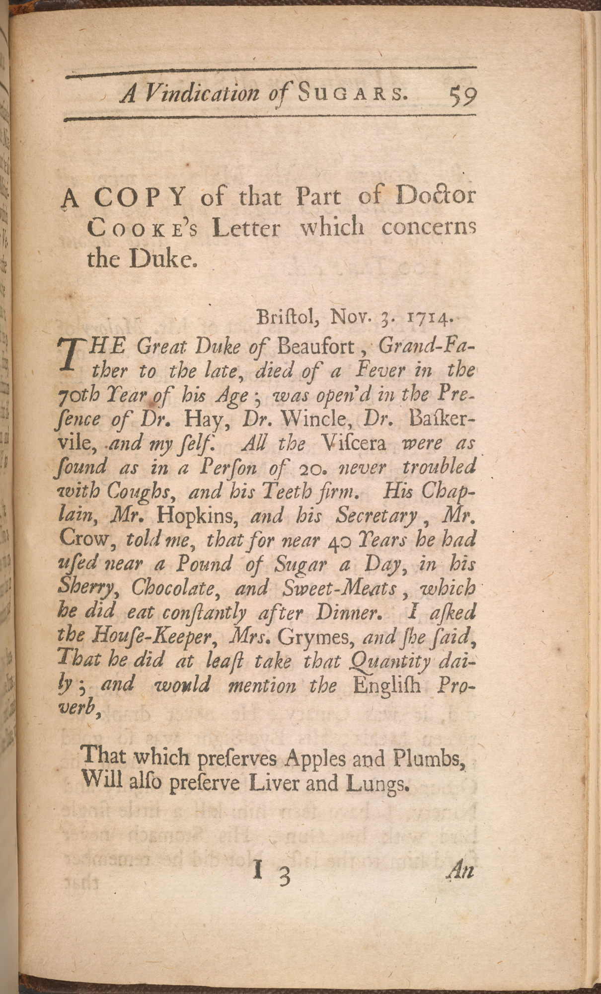 Page 59 from A Vindication of Sugars by Frederic Slare. The page features a transcript of a letter to 'The Great Duke of Beaufort' from Doctor Cooke. The contents is an statement of how sugar helped to combat coughs and loose teeth.