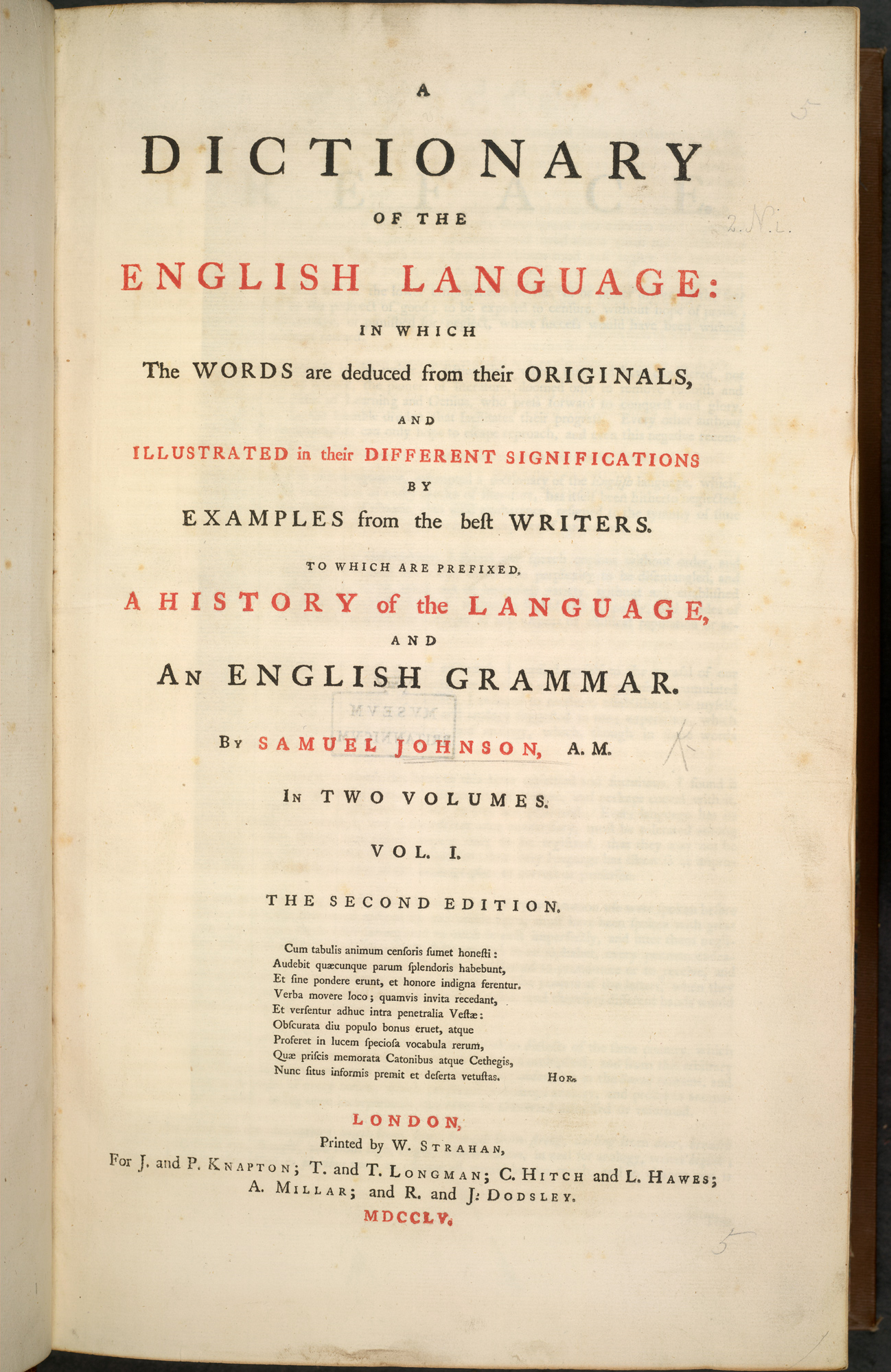 Samuel Johnson's *A Dictionary of the English Language*, 1755