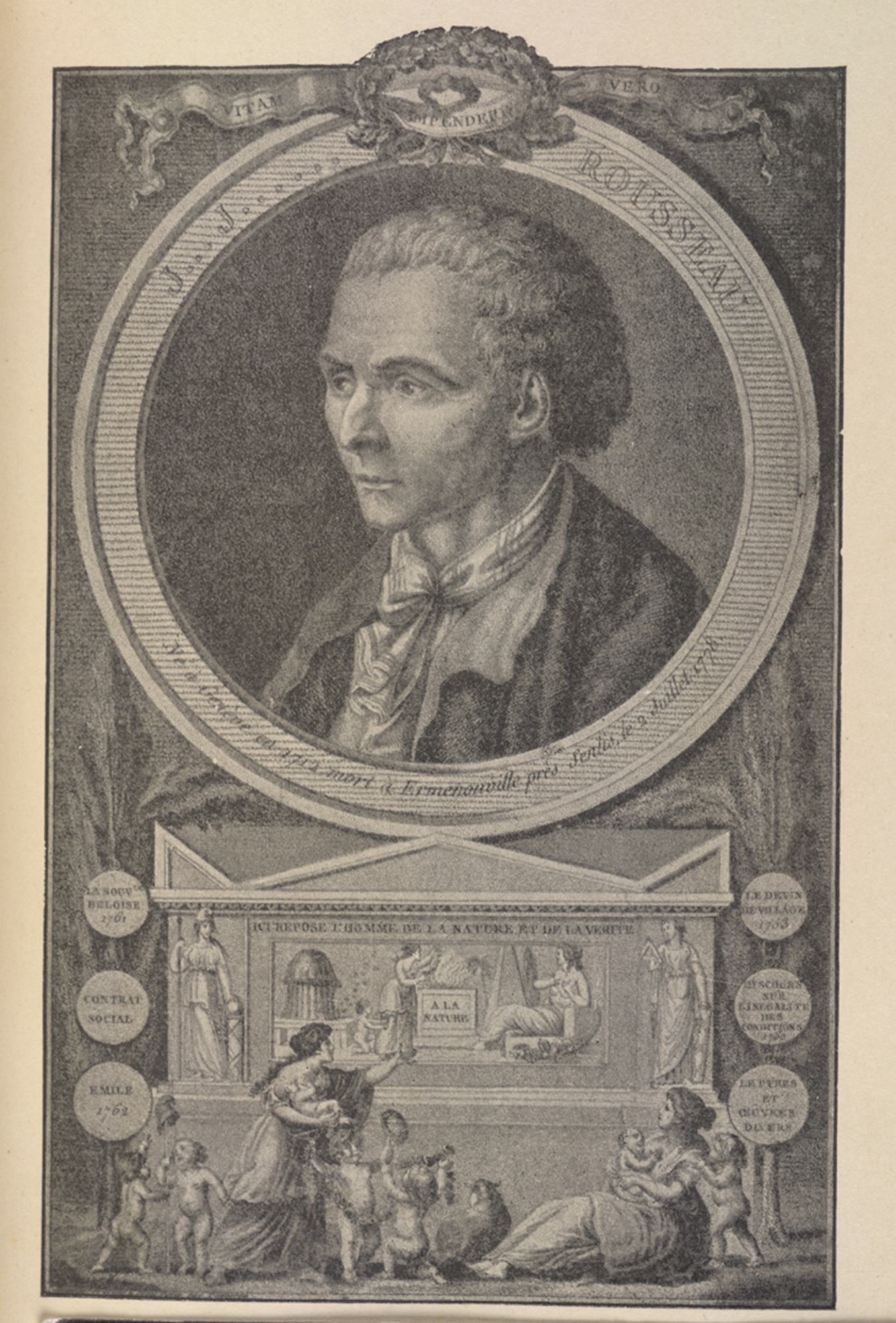 The Social Contract, a frontispiece depicting Jean Jacques Rousseau